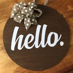 Hello Round Door Hanger Sign